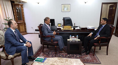 President of the Association of Iraqi Private Banks Wadih al-Hantal meets Secretary-General of the Council of Ministers Hamid al-Ghazi 2019-07-21-04